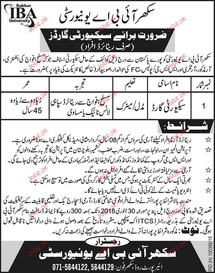 Sukkur IBA University  Security Jobs
