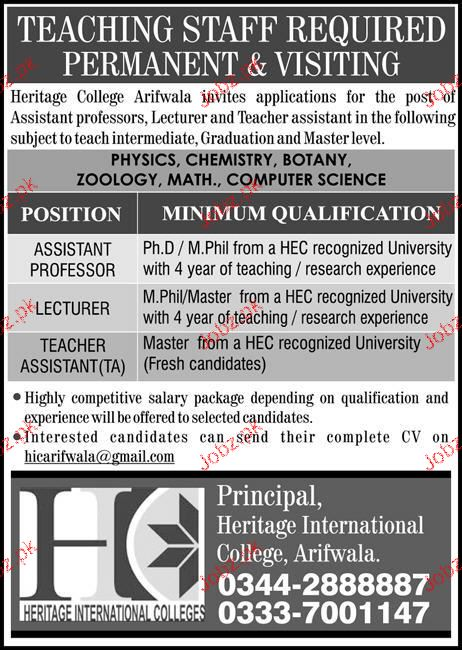 Heritage International College Jobs