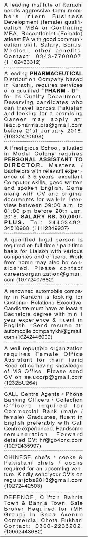 General Staff Required For Karachi