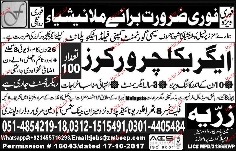 Agriculture Workers Job Opportunity