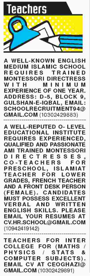 Teachers Required For School In Karachi