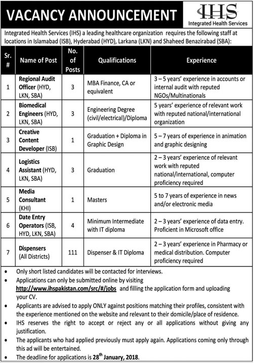 Integrated Health Services IHS Job Opportunities 2018