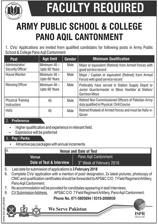 APSC Faculty Required In Pano Aqil Cantonment