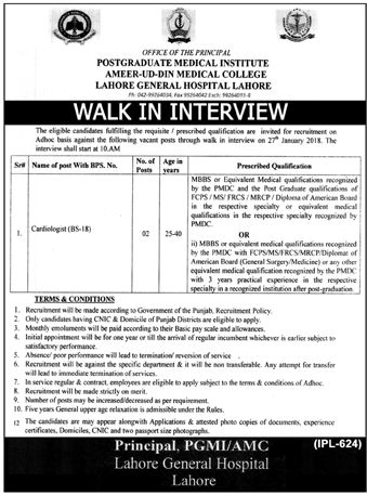 Lahore General Hospital LGH Jobs 2018 for Cardiologist