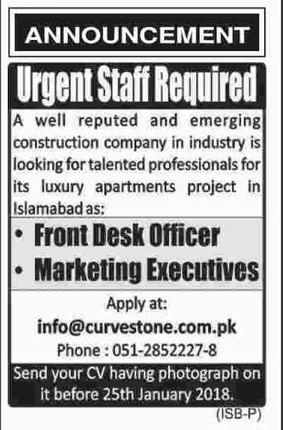 Front Desk Officer & Marketing Executive Jobs in Islamabad