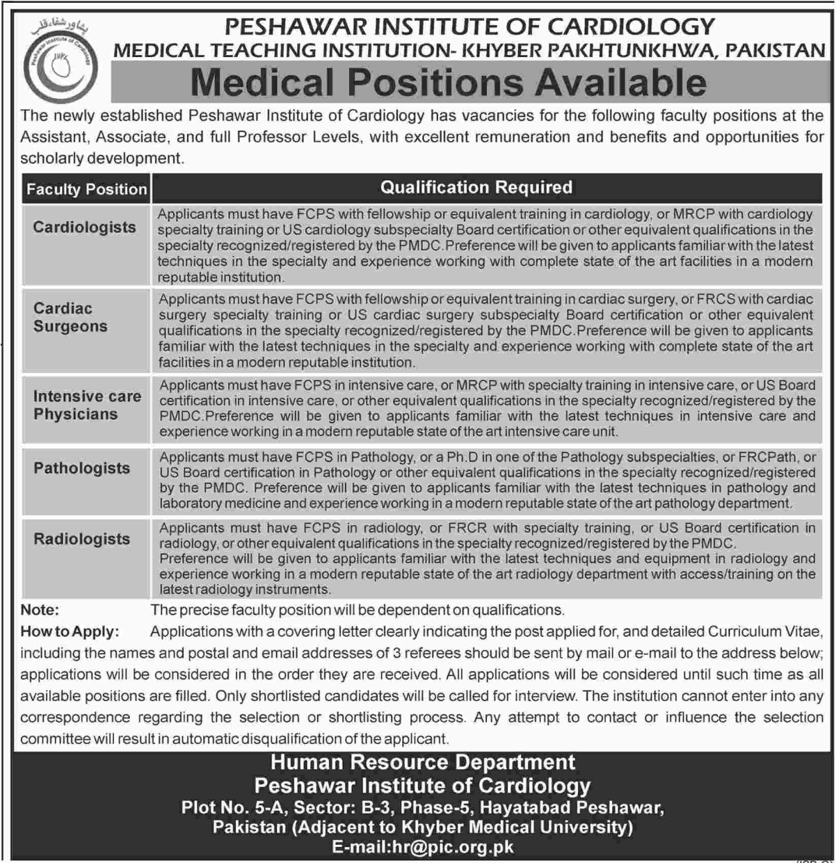 Peshawar Institute of Cardiology Jobs of Cardiologist