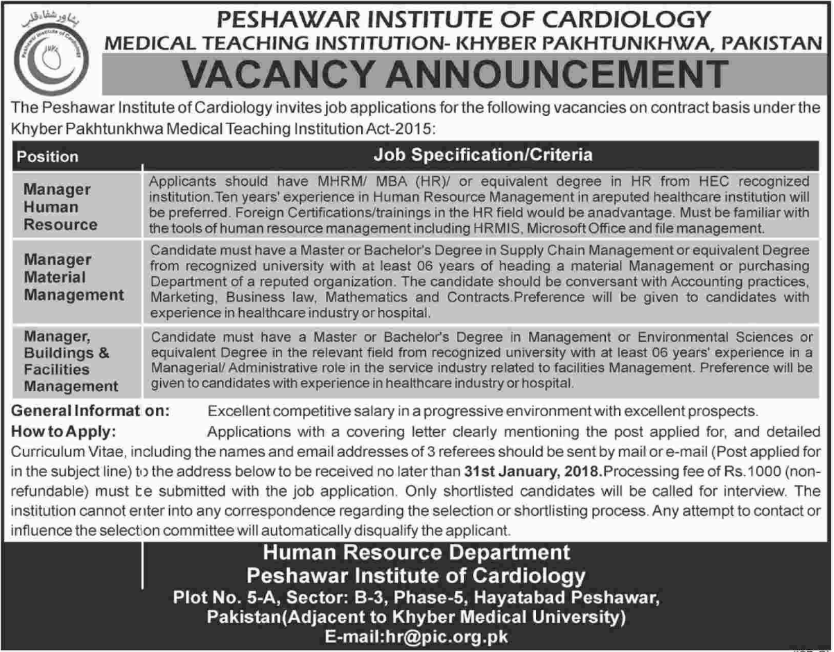 Medical Teaching Institution MTI Jobs 2018 for  Manager HR