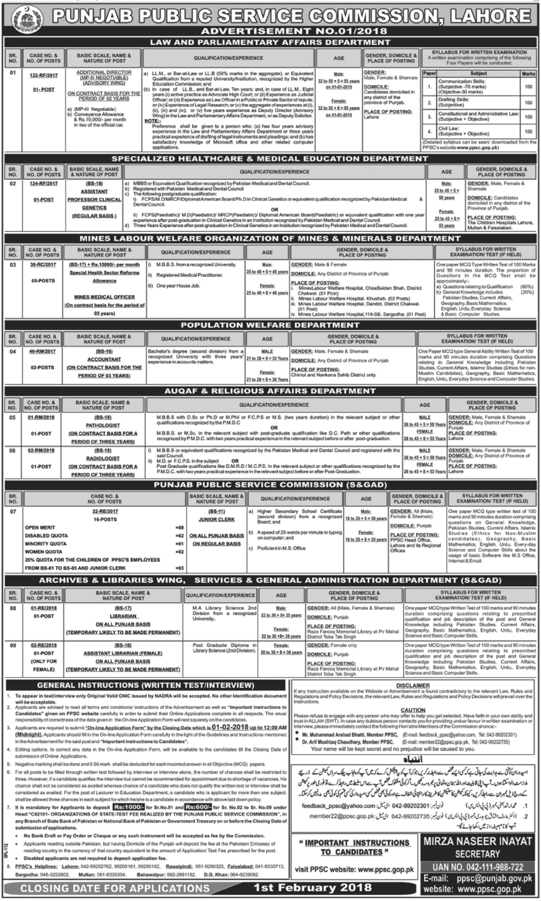 Government Departments Jobs 2018 Through PPSC Lahore