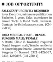 Sales & Para Medical Staff Jobs 2018