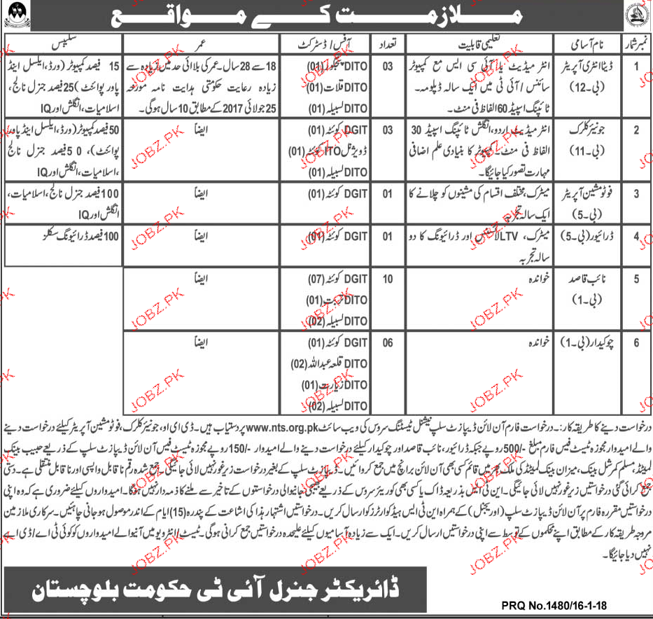 Information Technology Government of Balochistan Jobs