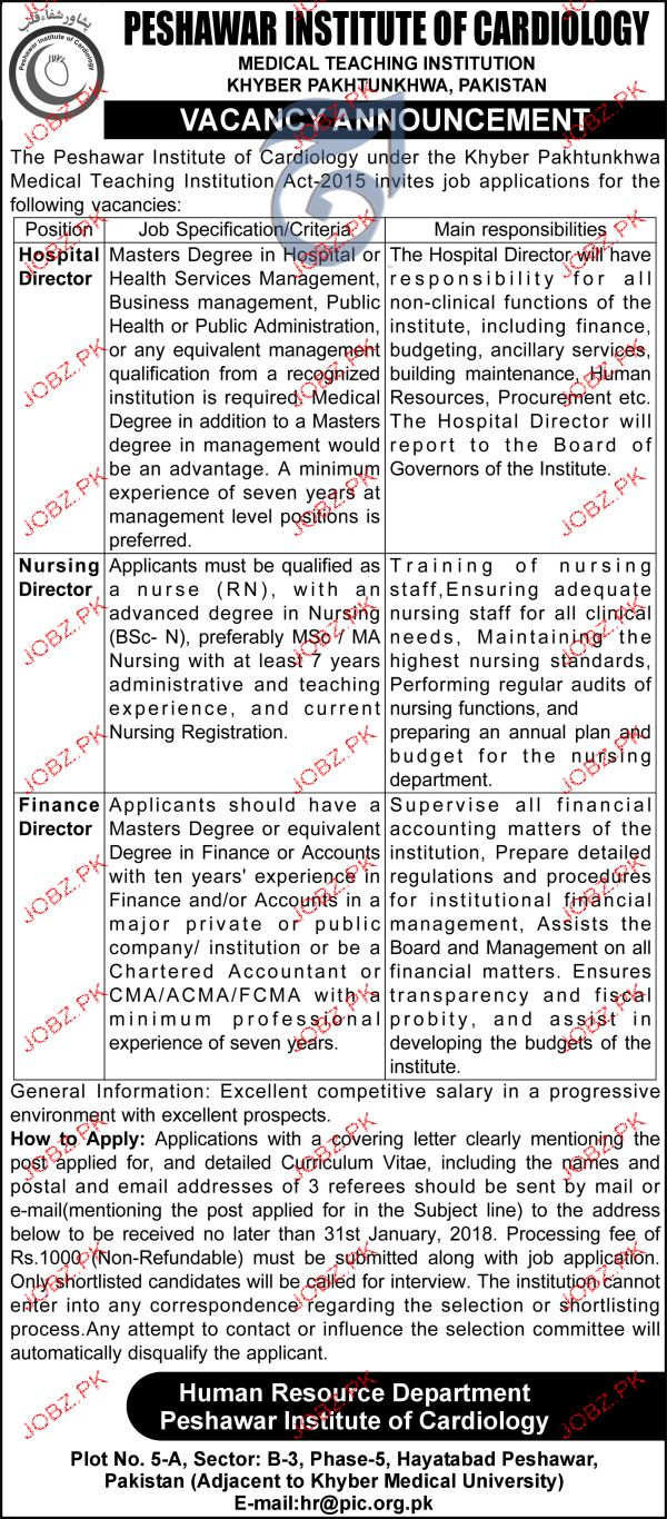 Peshawar Institute of  Cardiology Jobs