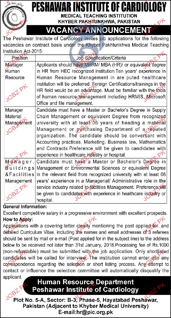 Peshawar Institute of  Cardiology Management Jobs