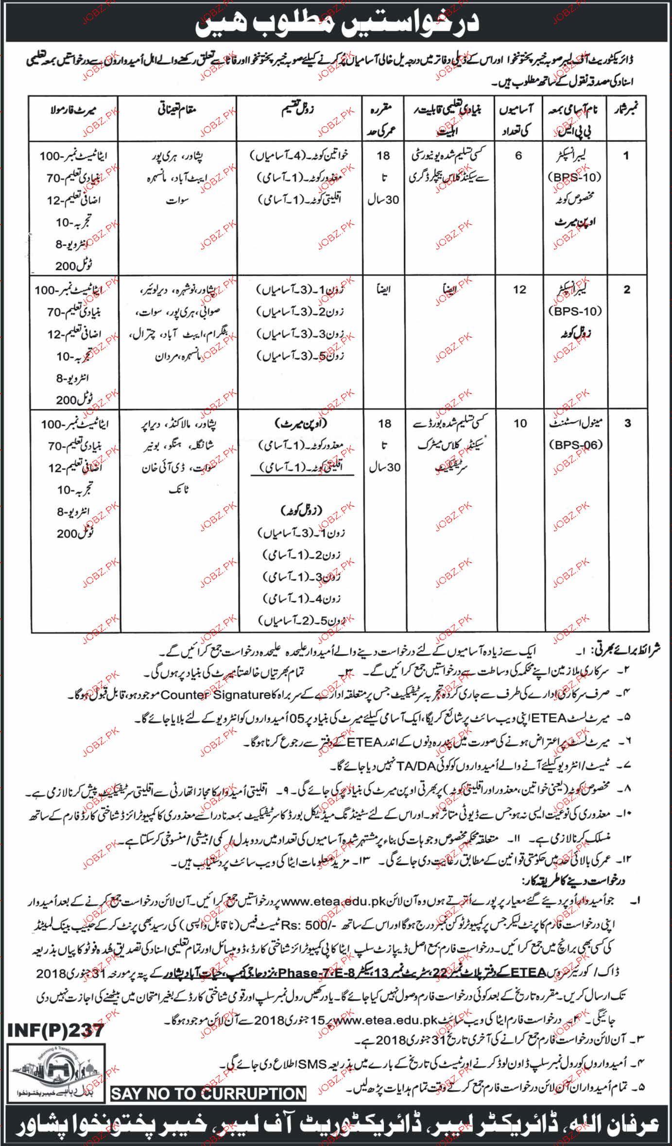 Directorate of Labour Khyber Pakhtunkhawa Jobs