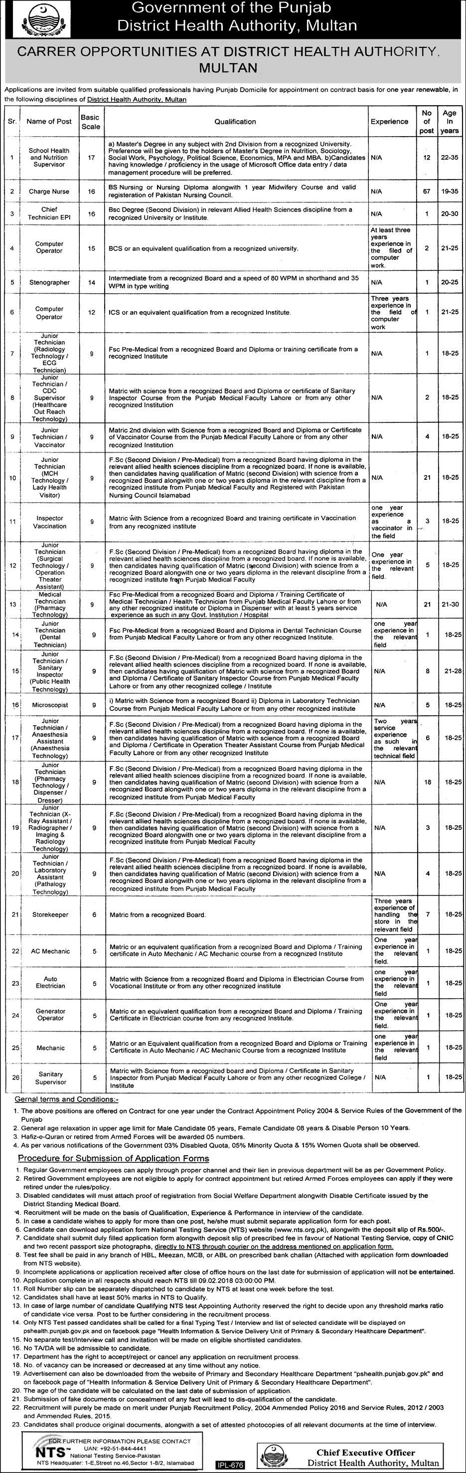 District Health Authority Career Opportunities 2018