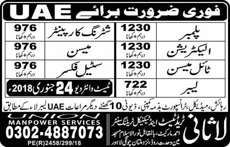Plumber, Carpenter, Electrician, Mason, Labor, Fixer Jobs