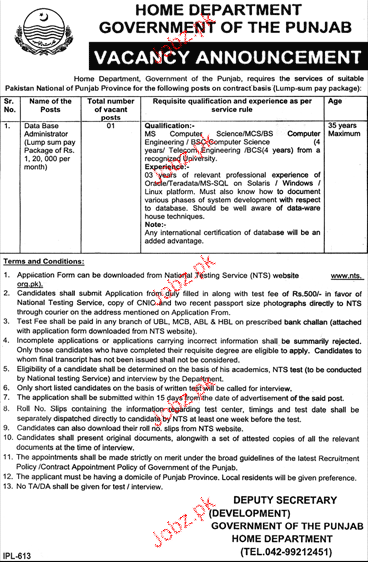 Home Department, Government of the Punjab Jobs