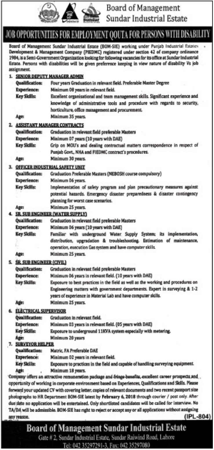 piedmc job opportunities 2018 in lahore 2019 job