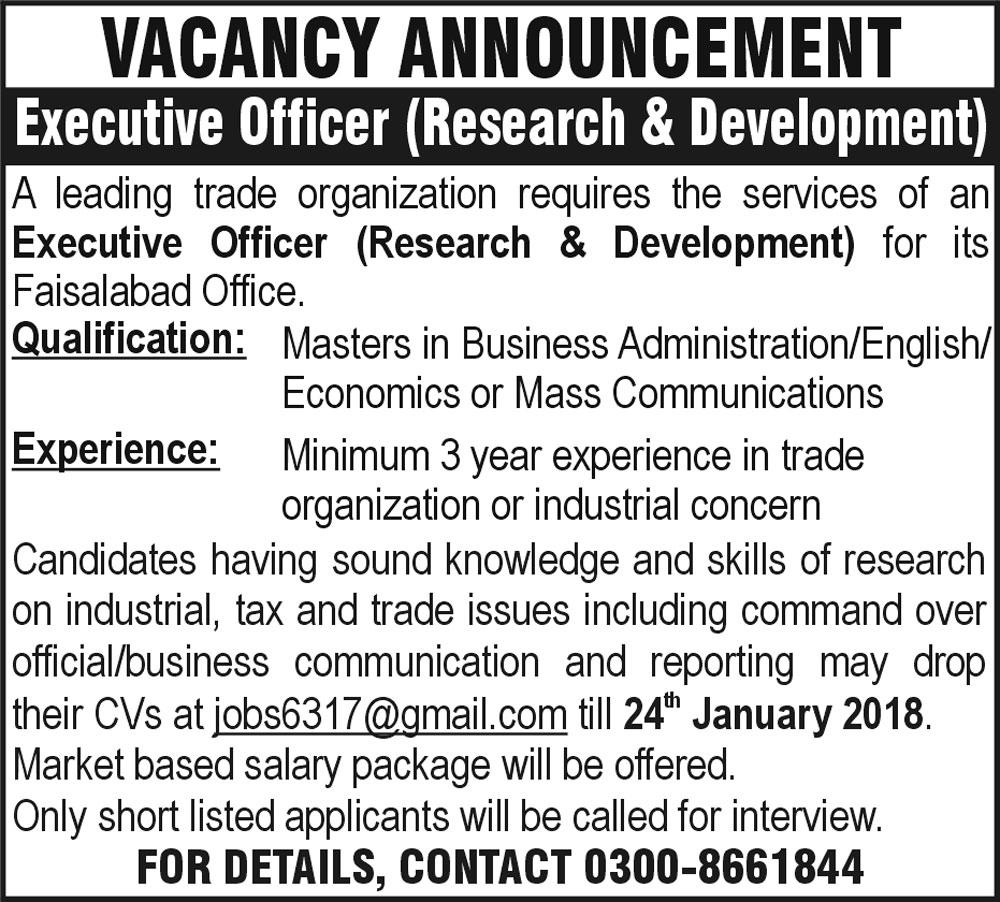 Executive Officer Research & Development Jobs 2018