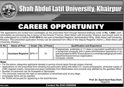 Shah Abdul Latif University Jobs