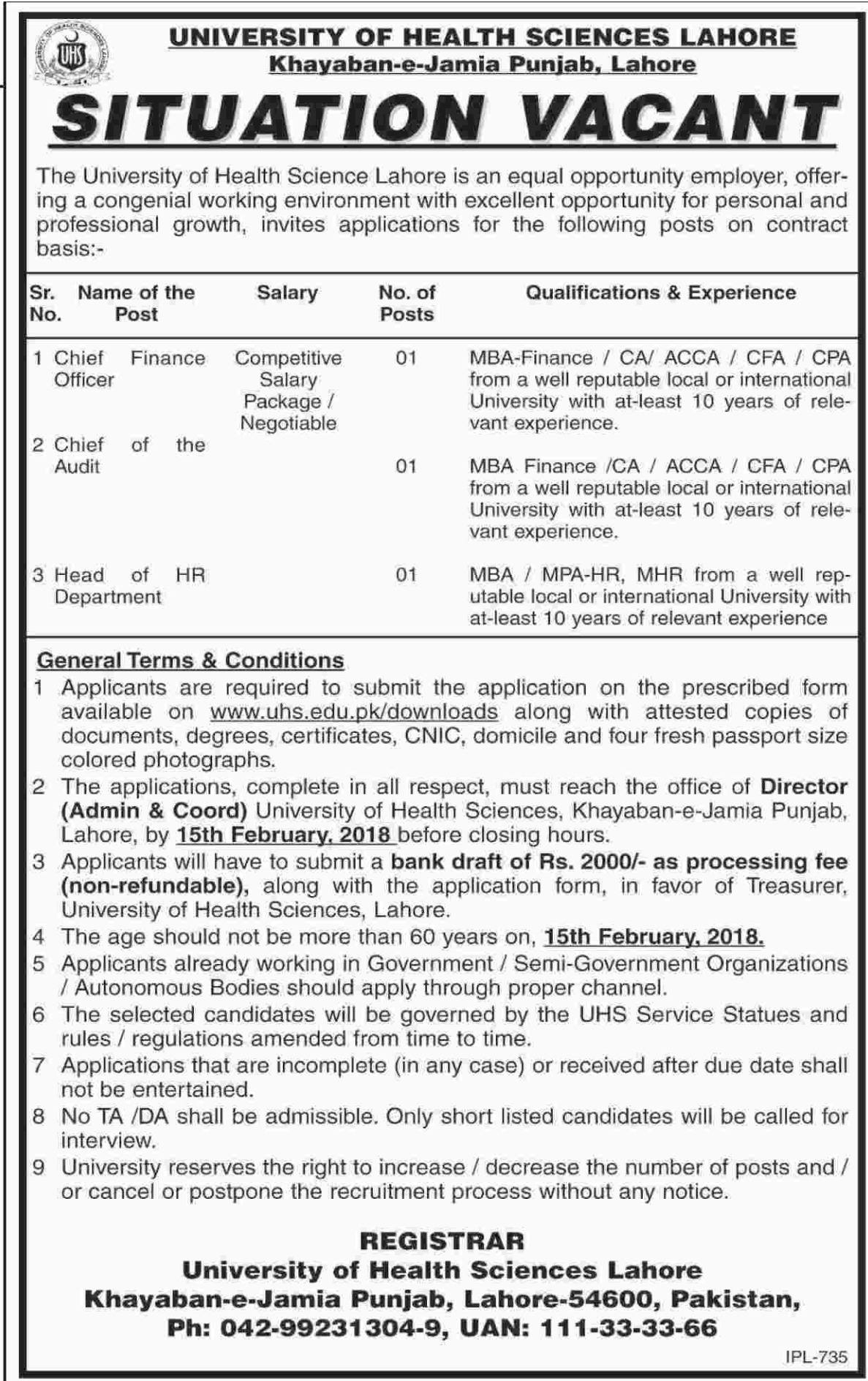 Chief Finance Officer, Chief & Head of HR Department Jobs