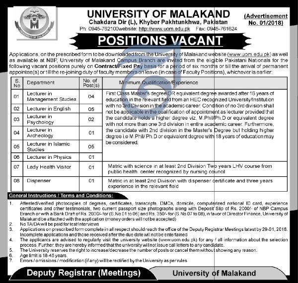 University of Malakand Teaching Jobs