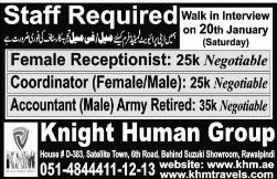 Female Receptionists, Coordinators Job Opportunity