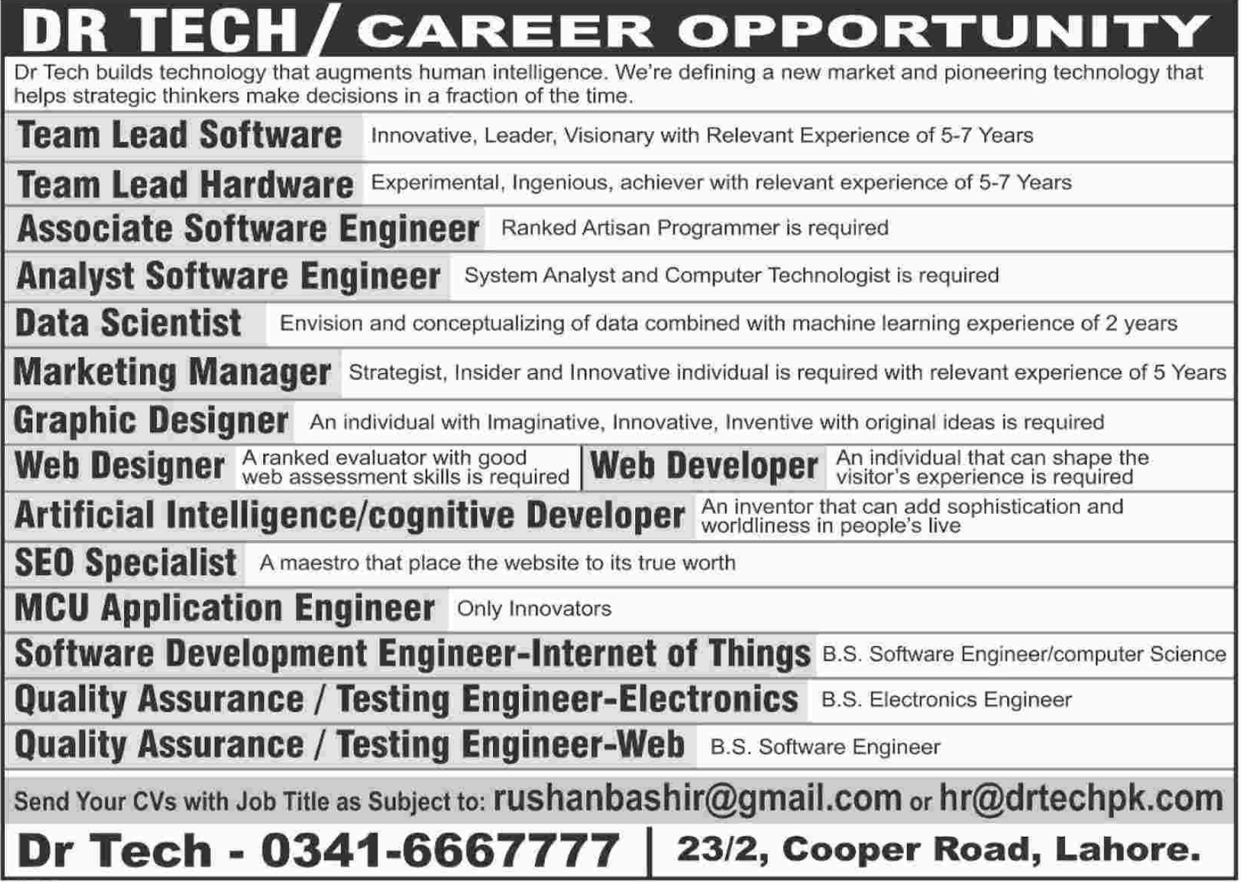 Software Engineer & Web Designer Jobs 2018 in Dr. Tech 2018 Jobs ...