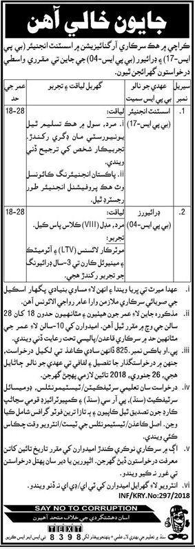 Public Sector Organization Jobs 2018 for Assistant Engineer