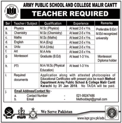 Army Public School APS Jobs 2018 for Teacher & PTI Teacher