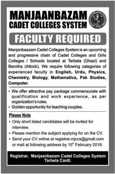 Manjanbazam Cadet College System Jobs 2018 for Teacher