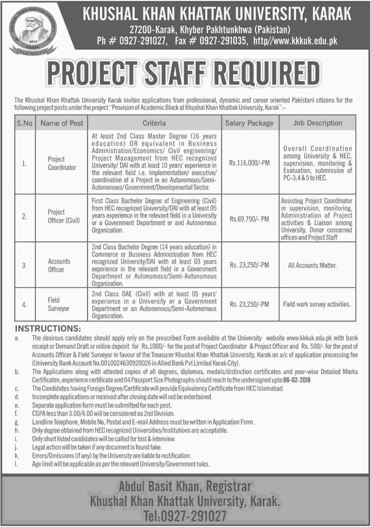 Khushal Khan Khattak University KKKUK Jobs for Coordinator