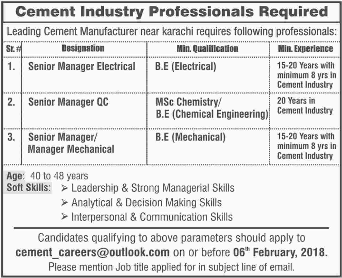 Senior Manager Electrical Jobs in Cement Industry
