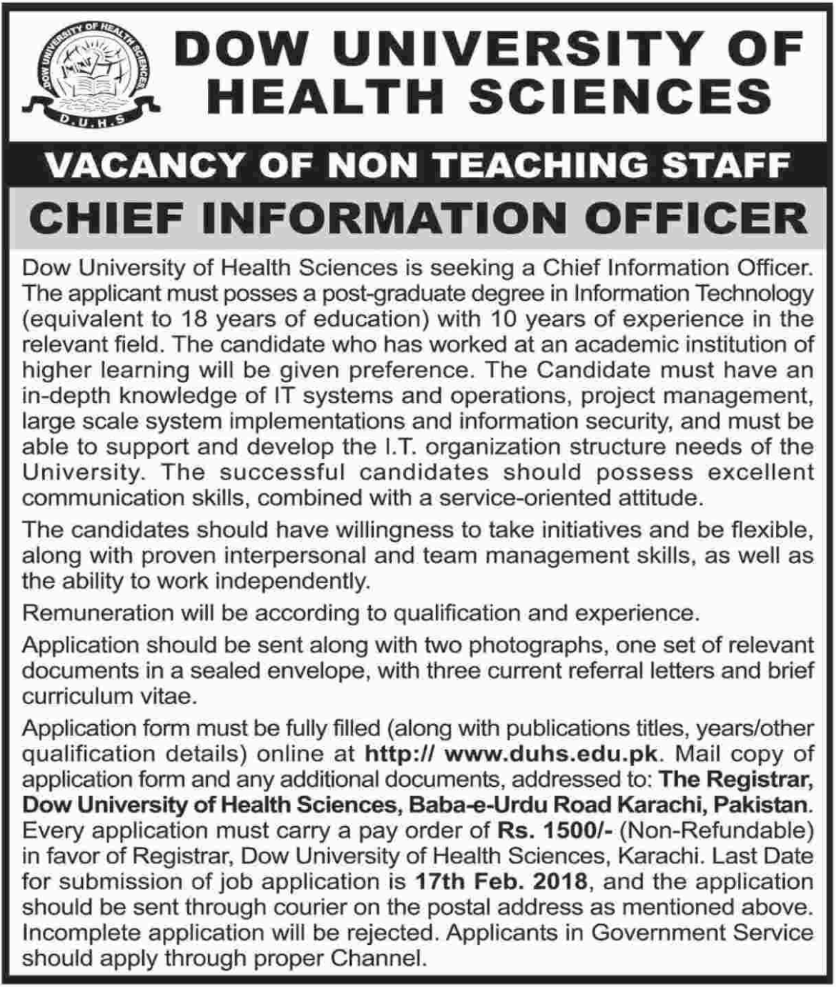 DOW University Of Health Sciences jobs 2018