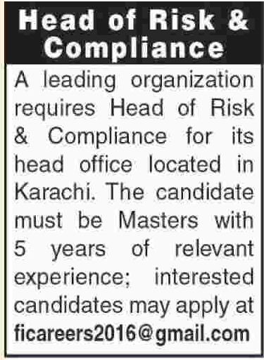 Head of Risk & Compliance Jobs 2018