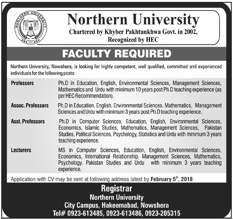 Northern University Teaching Jobs