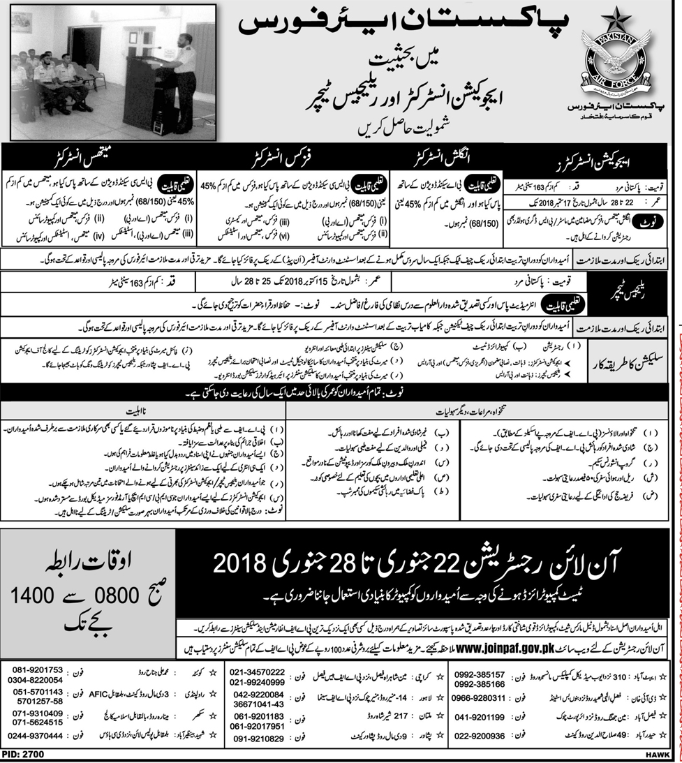 Recruitment of Education Instructor in Pakistan Air Force