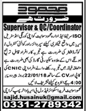 Supervisors & QC and Coordinators Job Opportunity