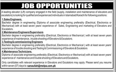 Sales Engineers,Maintenance Engineers / Supervisors Wanted