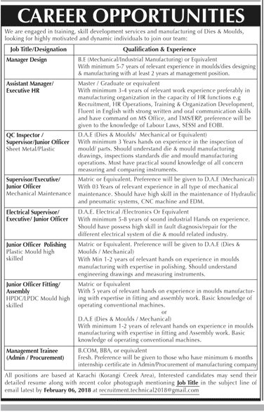 Manager Design, Assistant Manager / Executive HR Wanted