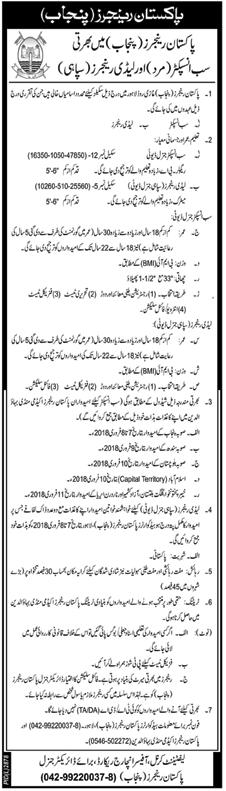Pakistan Rangers Punjab Jobs 2018 Sub Inspectors & Constable