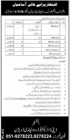 Driver, Farash, Daftari, Naib Qasid, Sanitary Workers Jobs