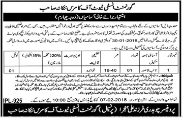 Government Institute of Commerce Required Naib Qasid