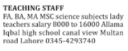 Teaching Staff Wanted For School In Lahore