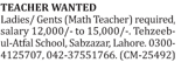Teachers Jobs 2018 In Lahore