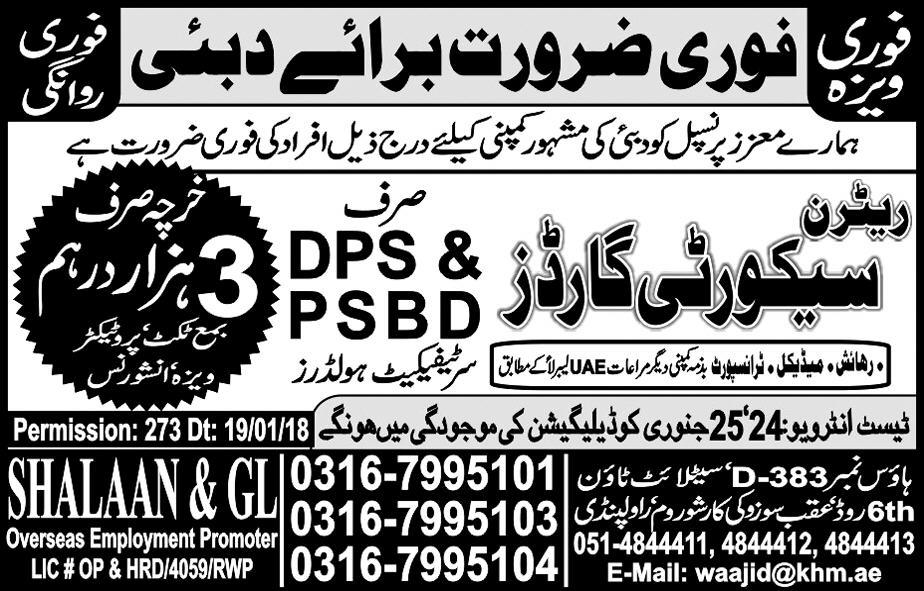 Retrun Security Guards Job Opportunity
