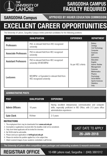 The University of Lahore  Teaching Jobs