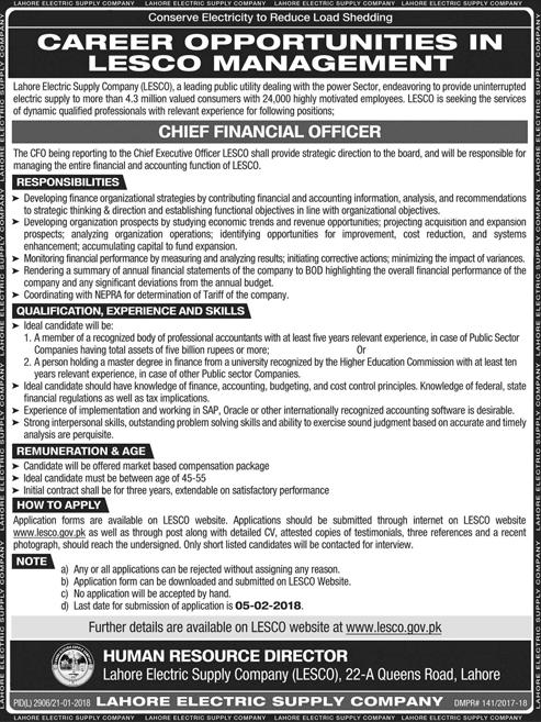 Lahore Electric Supply Company LESCO Jobs