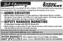 Admin Executives and Deputy Manager Marketing Wanted