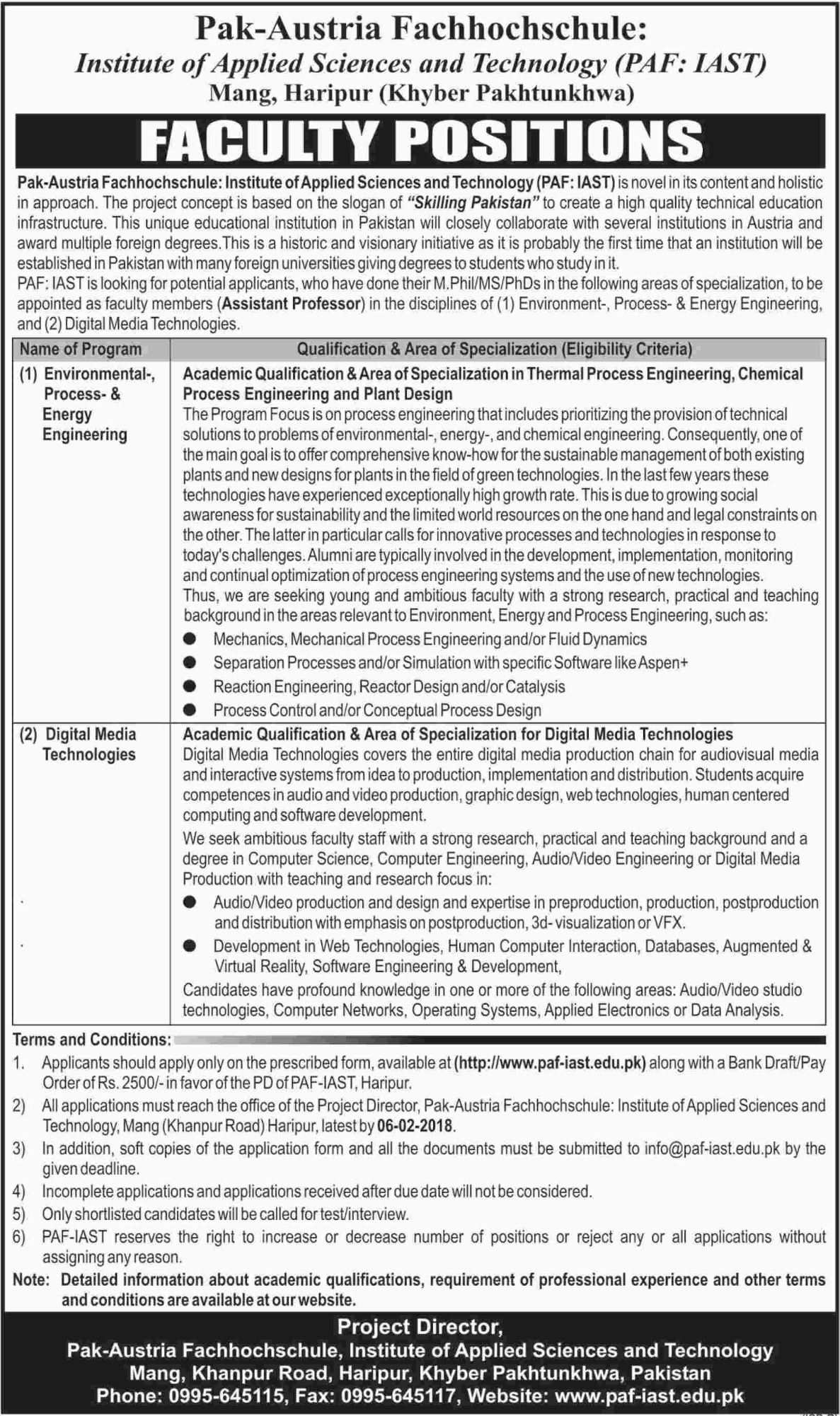 Institute Of Applied Sciences And Technology Haripur Jobs