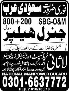 General Helpers Job Opportunity 2019 Job Advertisement Pakistan